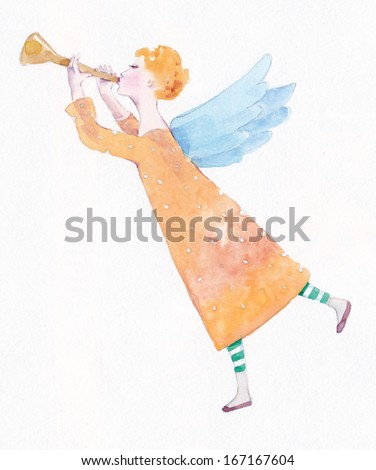 Angel with trumpet, watercolor - stock photo