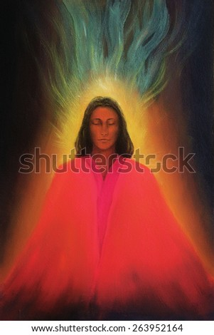 Angel woman, meditating spirit, soul awakening, beautiful colorful painting on canvas - stock photo
