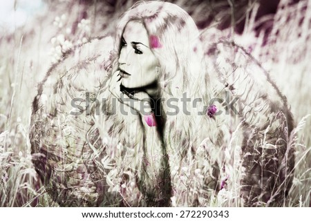 angel woman with wings in meadow,  composite image
