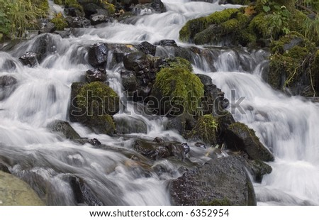 Angelic flowing water in the National Scenic Area of the Columbia River Gorge in Oregon. - stock photo