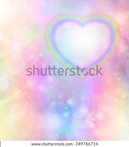 Angelic Rainbow Heart Message Board - Transparent rainbow heart in top right corner on a rainbow colored bokeh background - stock photo