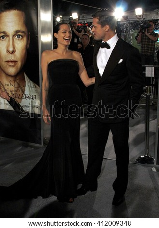 Angelina Jolie and Brad Pitt at the Los Angeles premiere of 'The Curious Case of Benjamin Button' held at the Mann Village Theater in Westwood, USA on December 8, 2008. - stock photo