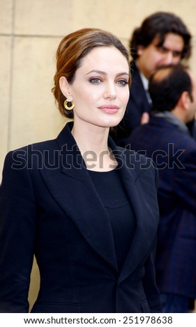 Angelina Jolie at the American Cinematheque's 69th Annual Golden Globe Awards Foreign-Language Nominee Event held at the Egyptian Theater in Los Angeles on January 14, 2012.  - stock photo