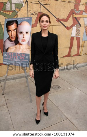 Angelina Jolie at the Golden Globe Foreign-Language Nominees Seminar, Egyptian Theater, Hollywood, CA 01-14-12 - stock photo