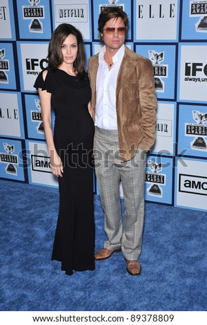 Angelina Jolie & Brad Pitt at Film Independent's 23rd Annual Spirit Awards on the beach in Santa Monica, CA. February 23, 2008 Santa Monica, CA Picture: Paul Smith / Featureflash - stock photo