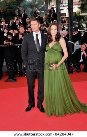 """Angelina Jolie & Brad Pitt at the gala premiere for her new movie """"Kung Fu Panda"""" at the 61st Annual Cannes Film Festival. May 15, 2008  Cannes, France. Picture: Paul Smith / Featureflash - stock photo"""
