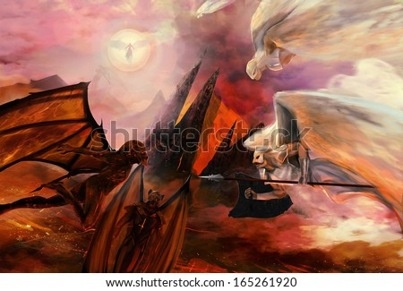 Angels and demons conflict religious battle war scene. - stock photo