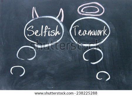 Angels and demons thinking sign on blackboard - stock photo