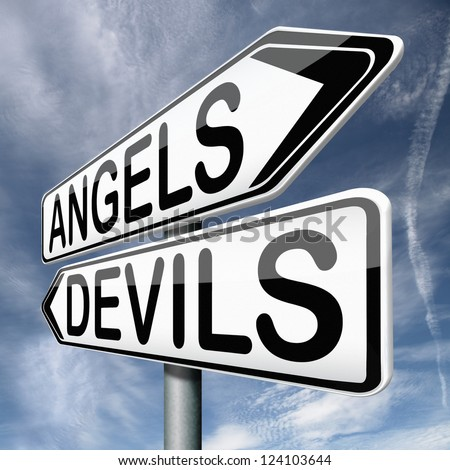 angels and devils choice between heaven and hell road sign arrow with text - stock photo