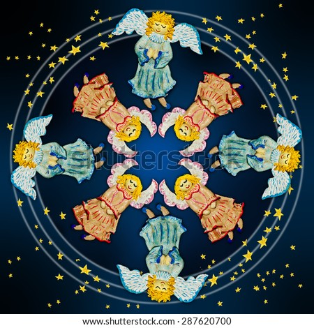 Angels.Figures of angels with wings on a dark background .Ornamental compositions. - stock photo