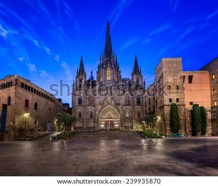 Angels Flying in front of the Cathedral of the Holy Cross and Saint Eulalia, Barcelona, Catalonia, Spain - stock photo