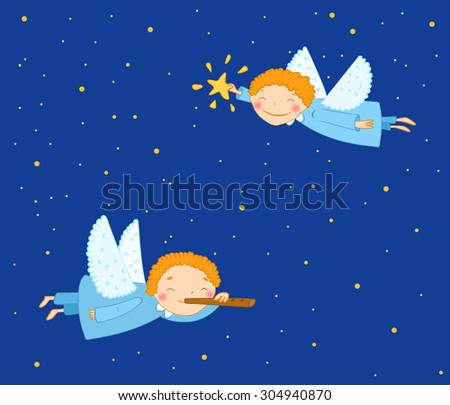 Angels in the night sky. illustration