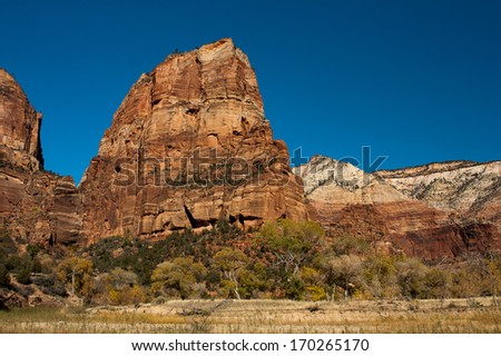 Angels Landing from Zion Canyon, Zion National Park, Utah - stock photo