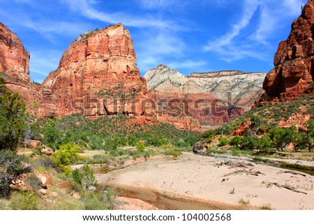 Angels Landing rises steeply from the Virgin River Canyon in Zion National Park - stock photo