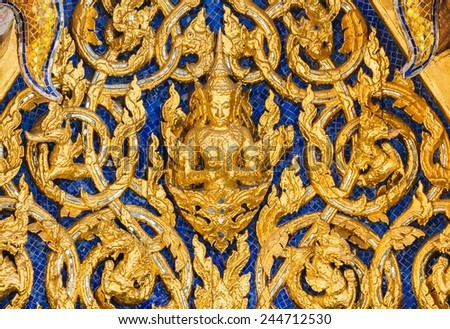 Angels sculptures on the temple wall - stock photo