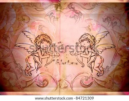 angels/ vintage - stock photo