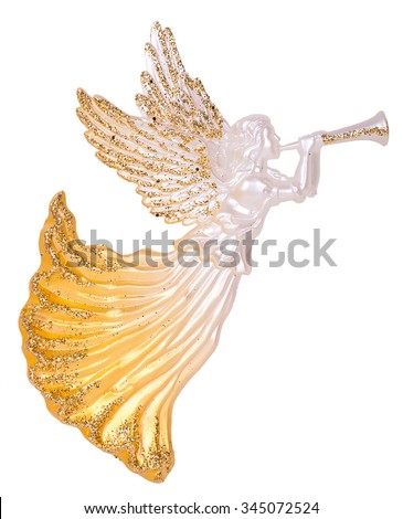 Angels with Trumpets Decoration isolated on white background - stock photo