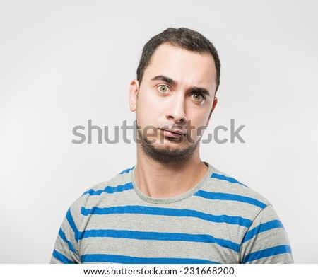 Anger, close up of angry man  - stock photo