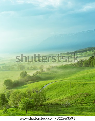 Anger, Germany, Bavaria. In the spring. - stock photo