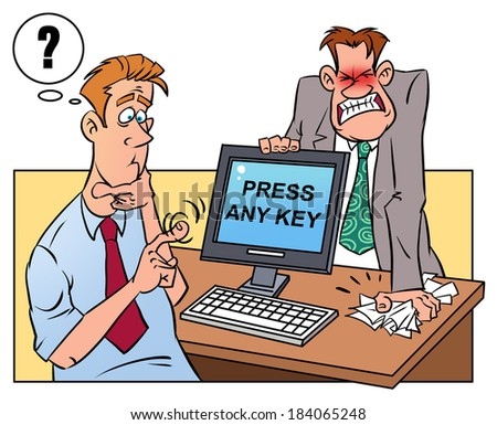 Anger man and stupid colleague selects the correct button - stock photo