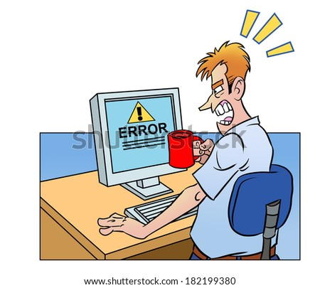 Anger man with cup looking at the screen of a broken computer - stock photo