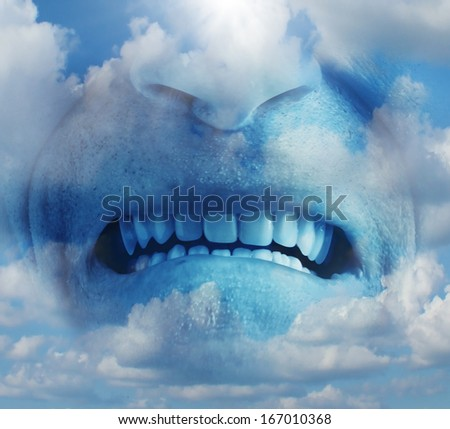 Anger rage emotion concept as a psychological symbol of mental health care suffering and managing emotional stress as a human face in the sky with an intense expression of  anxiety and pain. - stock photo