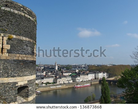 Angers north side of the maine, with a tower of the medieval castle in the foreground - stock photo