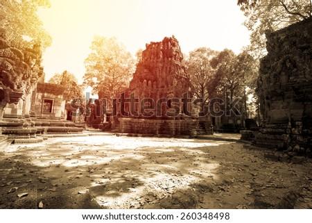 Angkor Thom, Cambodia. Vintage filter. - stock photo