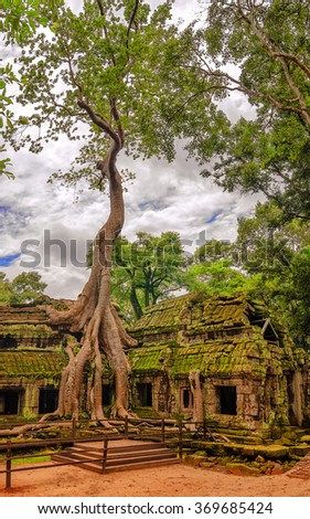 Angkor Wat - a giant Hindu temple complex in Cambodia, dedicated to Lord Vishnu. - stock photo