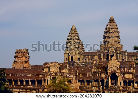 Angkor Wat - ancient Khmer temple in Cambodia. UNESCO world heritage site - stock photo