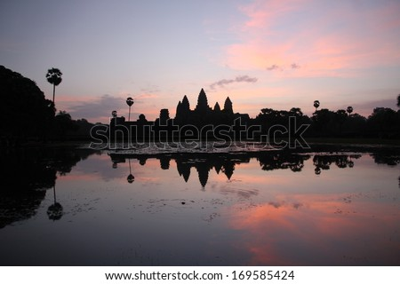 Angkor Wat Archaeological Complex near Siem Reap, Cambodia at sunrise.