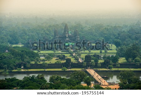 Angkor Wat bird's eye view (due to the haze, the image is slightly grainy). - stock photo
