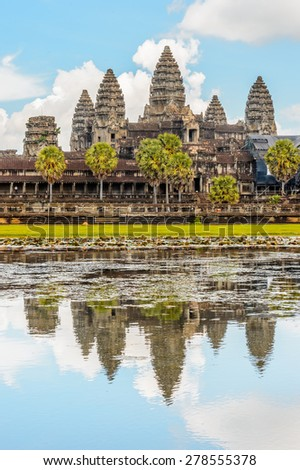 Angkor Wat (Capital Temple), Khmer temple in Cambodia. UNESCO World Heritage site - stock photo