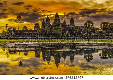 Angkor Wat in Cambodia during sunrise