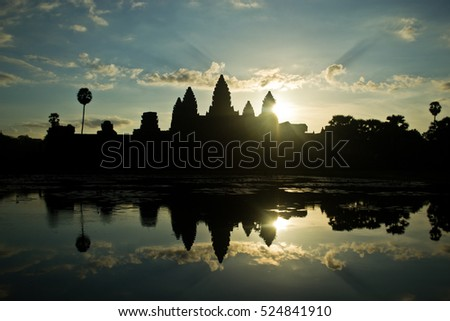 Angkor Wat in Cambodia during sunrise with reflection pool