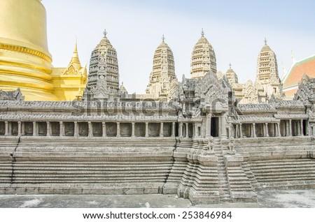 Angkor Wat miniature in Royal Palace and Wat Phra Kaeo Complex in Bangkok, Thailand - stock photo
