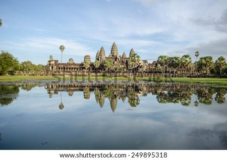 Angkor Wat seen across the lake - stock photo