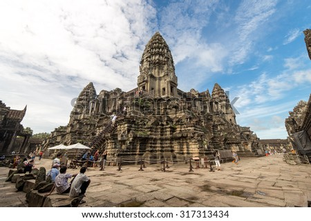 Angkor Wat, Siem Reap, Cambodia - September 2, 2015: View inside Angkor Wat, where is the most popular place for tourism in Cambodia.