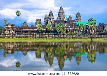 Angkor wat, Siem reap,Cambodia, was inscribed on the UNESCO World Heritage List in 1992. - stock photo