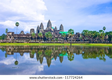 Angkor wat ,siem reap ,Cambodia, was inscribed on the UNESCO World Heritage List in 1992. - stock photo