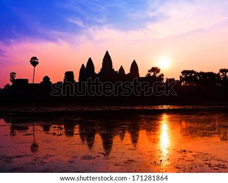 Angkor Wat sunrise - stock photo