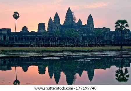 Angkor Wat sunrise at Siem Reap Cambodia - stock photo