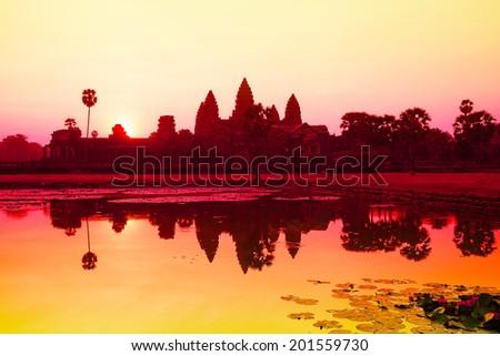Angkor Wat sunrise at Siem Reap. Cambodia - stock photo