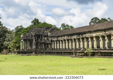Angkor Wat (Temple City), a Buddhist, temple complex in Cambodia and the largest religious monument in the world. View from the garden