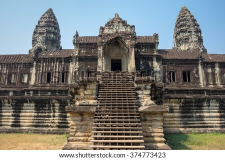 Angkor Wat temple in Cambodia. Angkor Wat is the largest Hindu temple complex and religious monument in the world