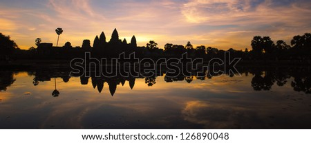 Angkor wat temple in sunrise panorama