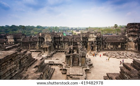 Angkor Wat Temple near  Siem reap, Cambodia. - stock photo