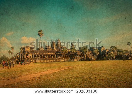 Angkor Wat Temple, Siem reap, Cambodia. Retro filter. - stock photo