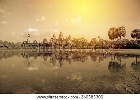 Angkor Wat Temple, Siem reap, Cambodia. Vintage filter - stock photo