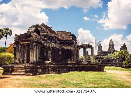 Angkor Wat Temple view, Siem reap, Cambodia - stock photo